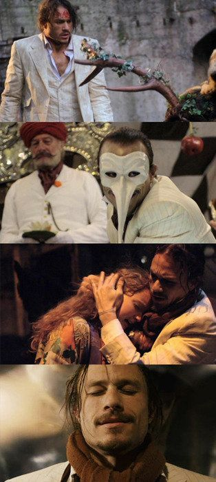 Heath Ledger in his last role. The Imaginarium of Doctor Parnassus.. He died during filming. His role was finished out by Johnny Depp, Jude Law, and Colin Farrell.