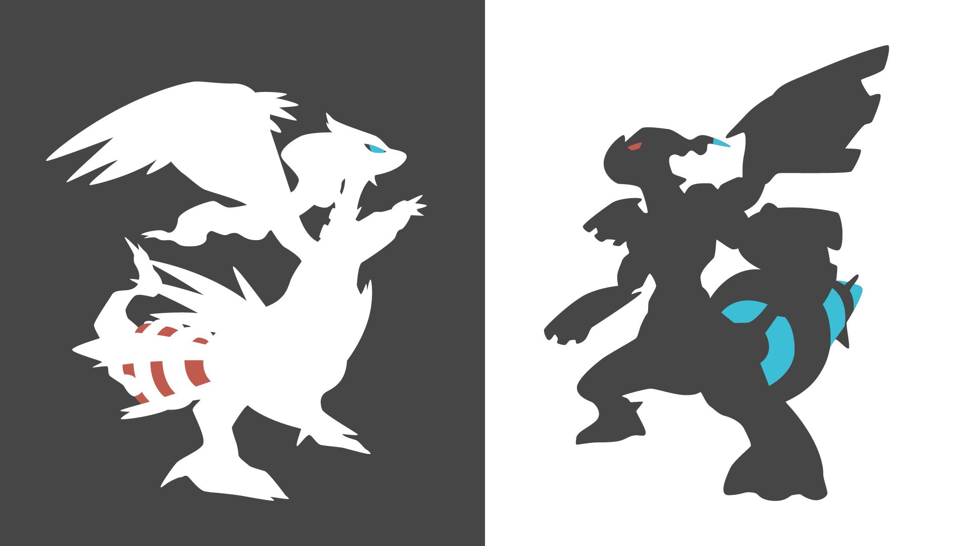 Zekrom And Reshiram Minimalist Wallpaper By Krukmeister Deviantart Com On Deviantart Pokemon Black And White Minimalist Wallpaper Black Pokemon