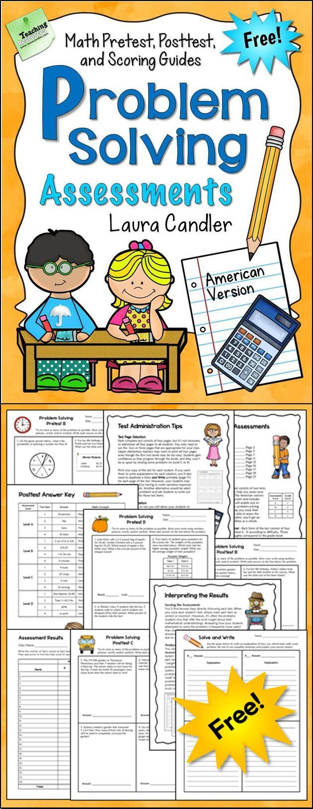 FREE Math Problem Solving Assessment Pack - Includes 4 different ...