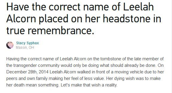 Petition on Changeorg for Leelah Alcornu0027s headstone to reflect - community petition