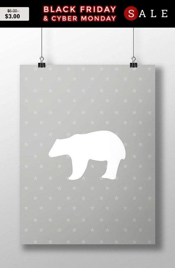 Vente 50 % pré vacances! Affiche pour encadrement, impression affiche ours, ours imprimer, nouveau cadeau de bébé, gris, Articles en papier, impression de Design graphique, mur De...