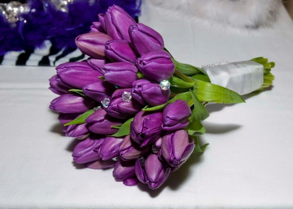 purple tulip bouquet with jewels abdullahmalizio