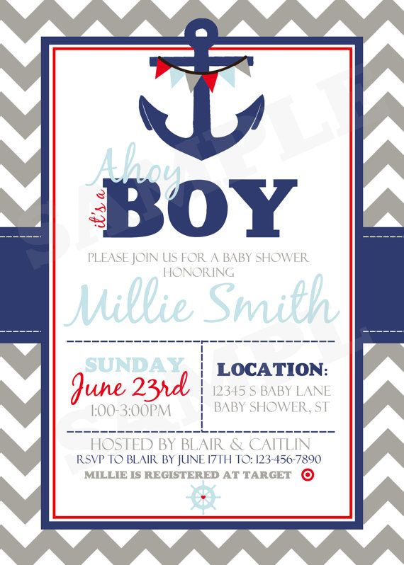 Nautical Baby Shower Invitation Printable Sailor Baby Shower