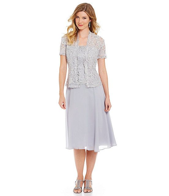 Cachet lace chiffon bolero jacket dress