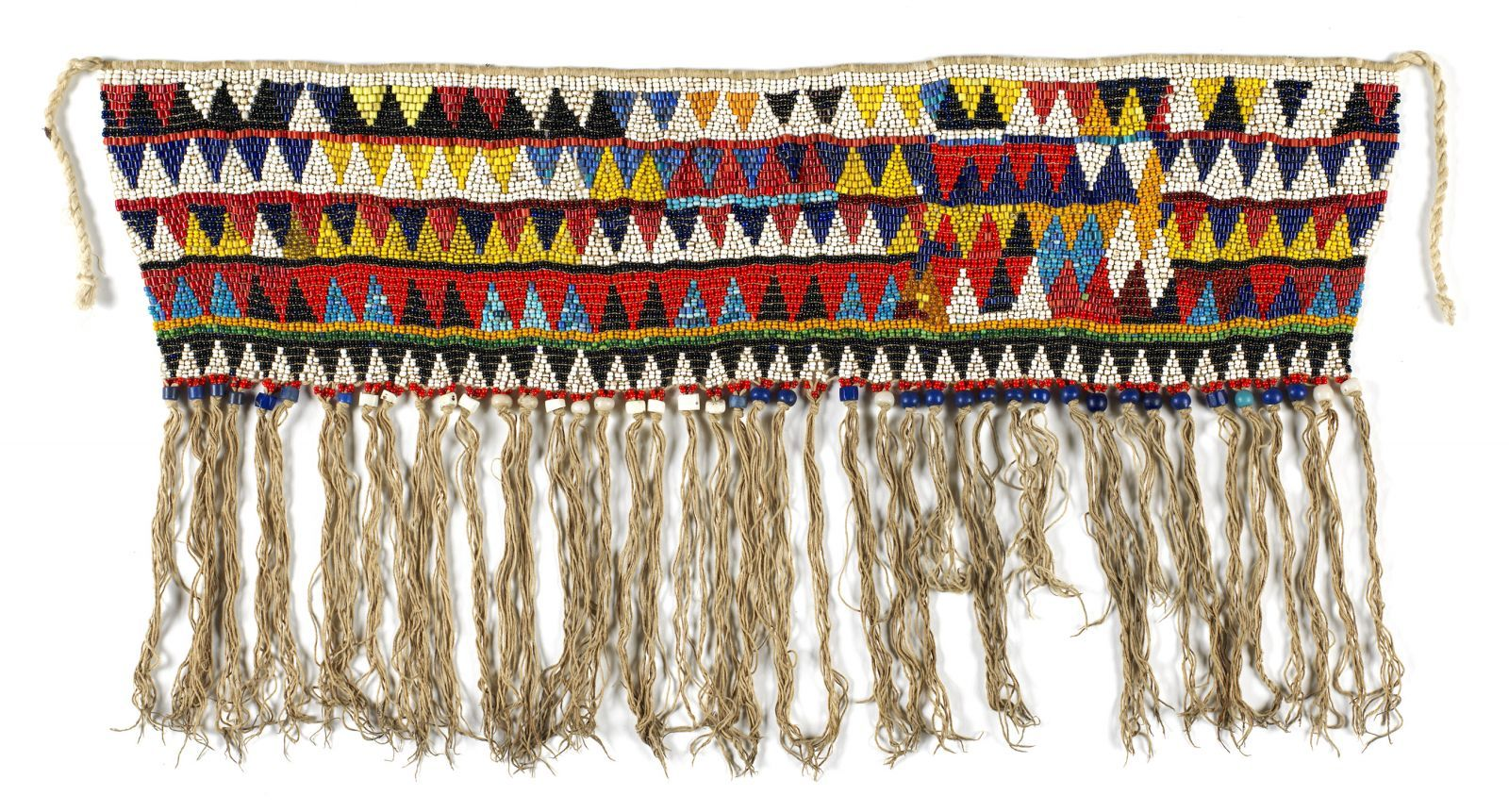 Dibil Kouana  Woman's ceremonial cache-sexe  Bana Guilli Kirdi people  Mandara Mountains, Cameroon     Imported glass beads strung with cotton thread    46 cm x 45 cm
