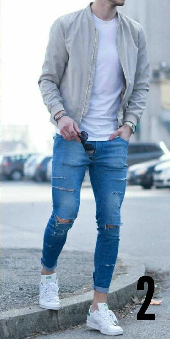 blue denim jeans and white shirt | Men