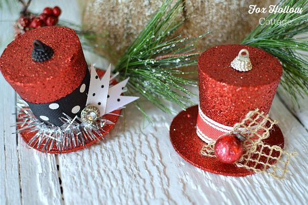 How To Turn A Dollar Tree Christmas Ornament Into Frosty S Vintage Top Hat Candy Christmas Decorations Christmas Ornaments Christmas Tree Tops