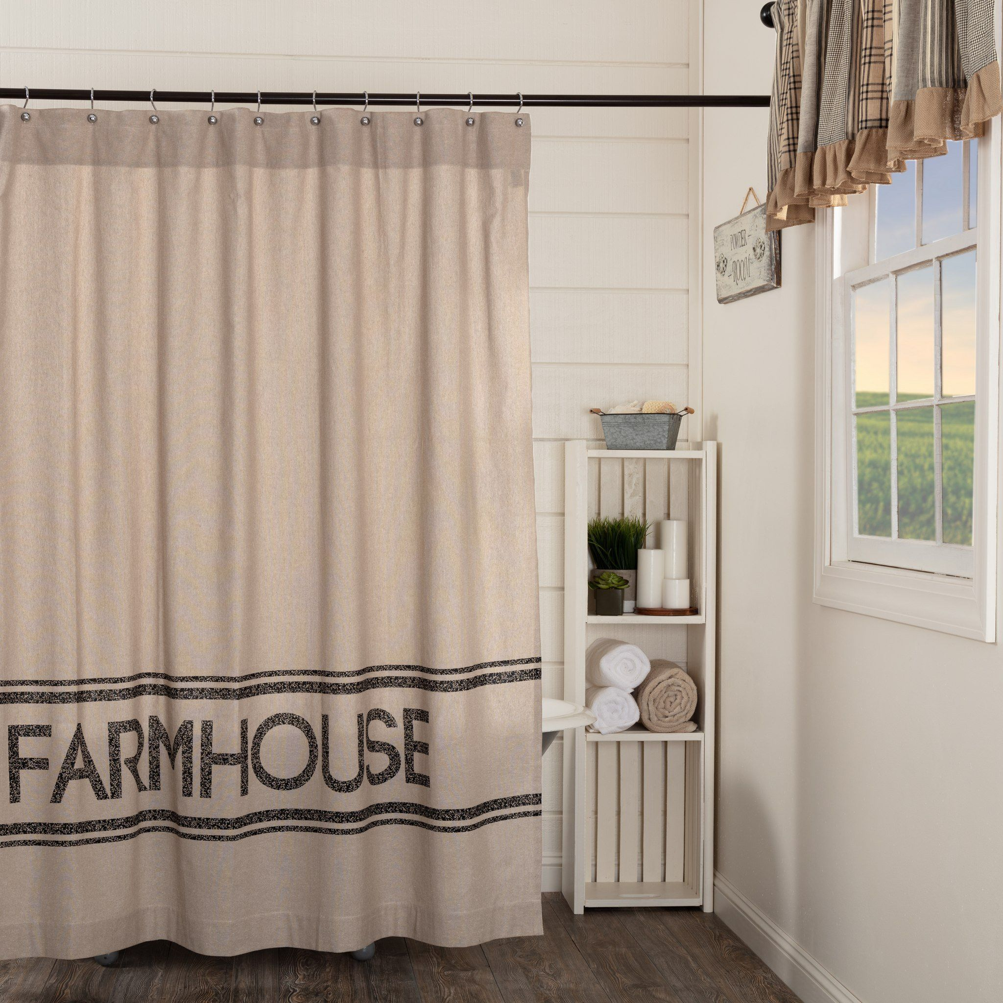 Sawyer Mill Charcoal Farmhouse Shower Curtain Farmhouse Shower