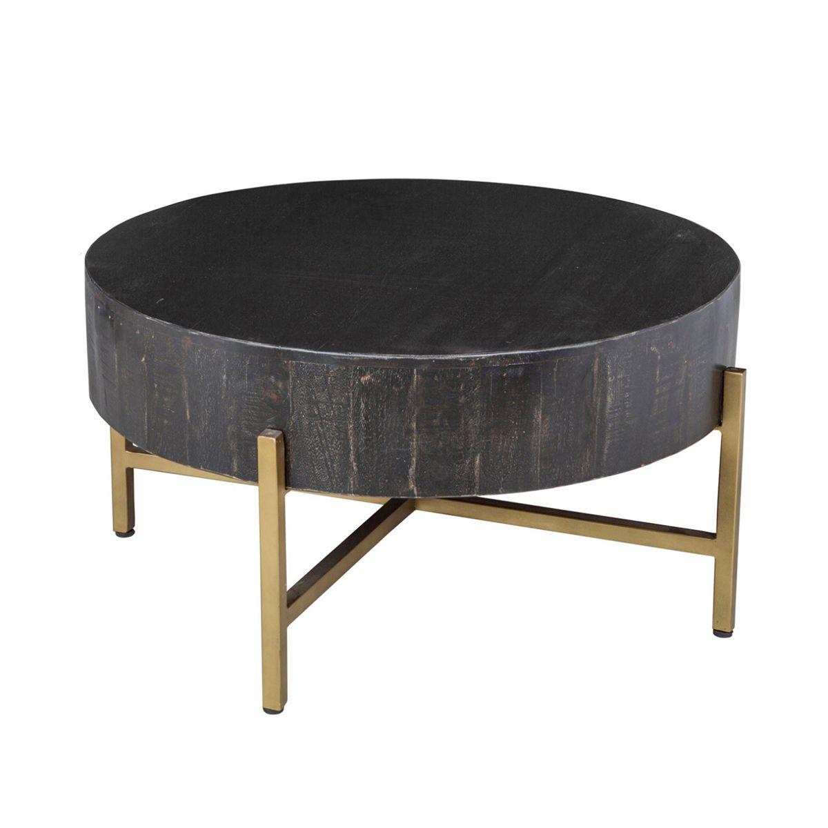 Black Distress Wood Round Coffee Table With Iron Base / Brass Finish.