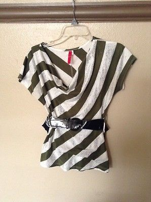 Candie's, Women's striped  blouse with belt sz S