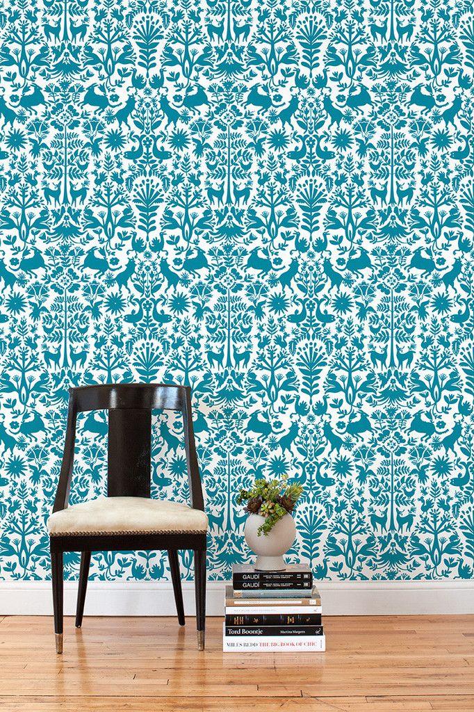 12 removable wallpaper tiles ($28) Renters, rejoice! Otomi (Turquoise) Tile – Hygge & West