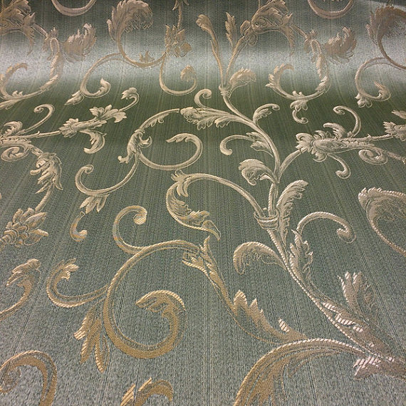 Sage Green / Gold Damask Jacquard Vine Brocade Fabric 118\