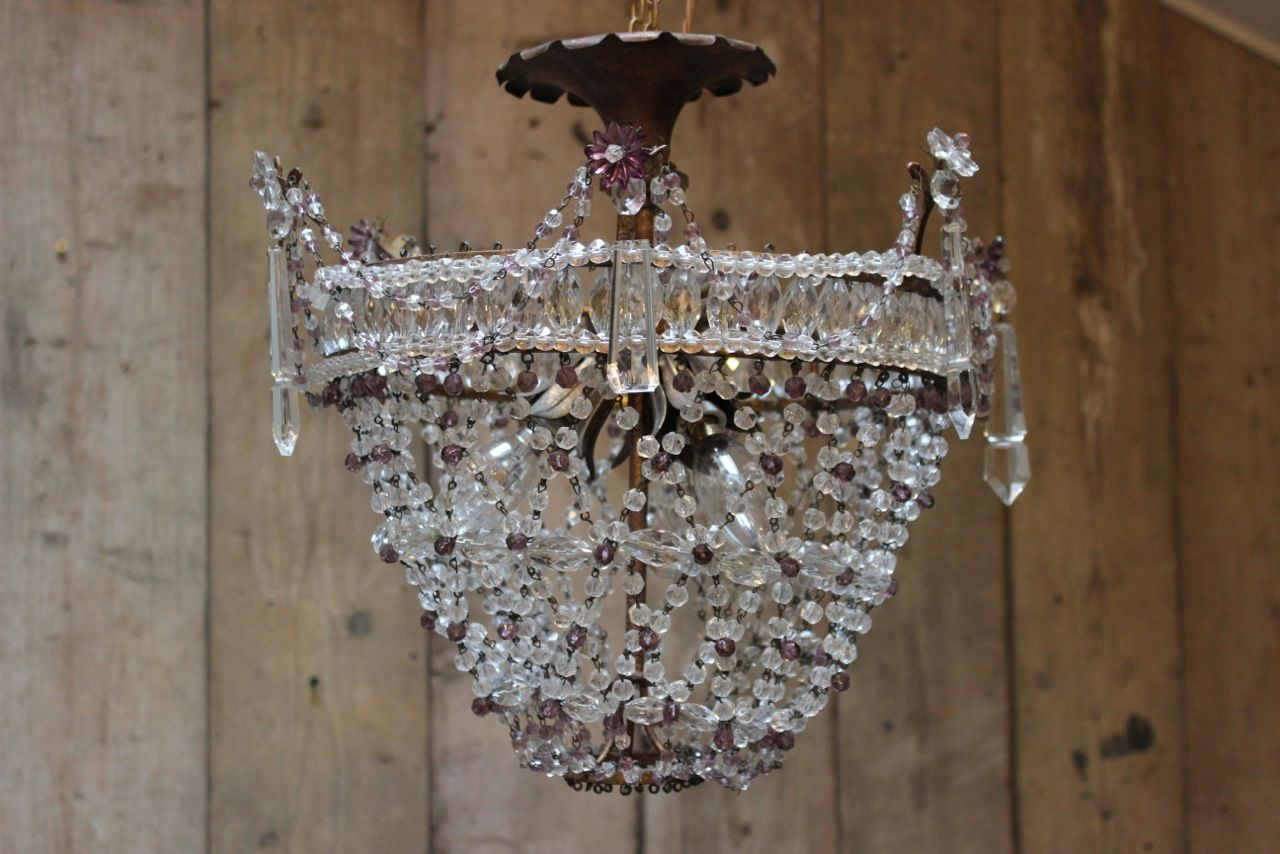 1920s amethyst and clear glass french bag chandelier illumination 1920s amethyst and clear glass french bag chandelier arubaitofo Image collections