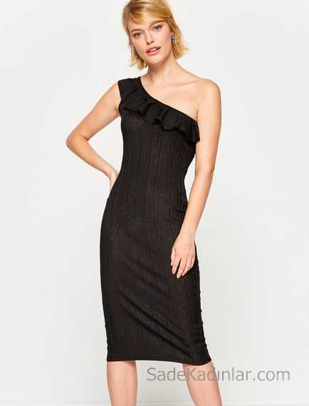 2018 Koton Elbise Modelleri Siyah Tek Omuz Firfir Detayli Elbise Modelleri Elbise Moda Stilleri