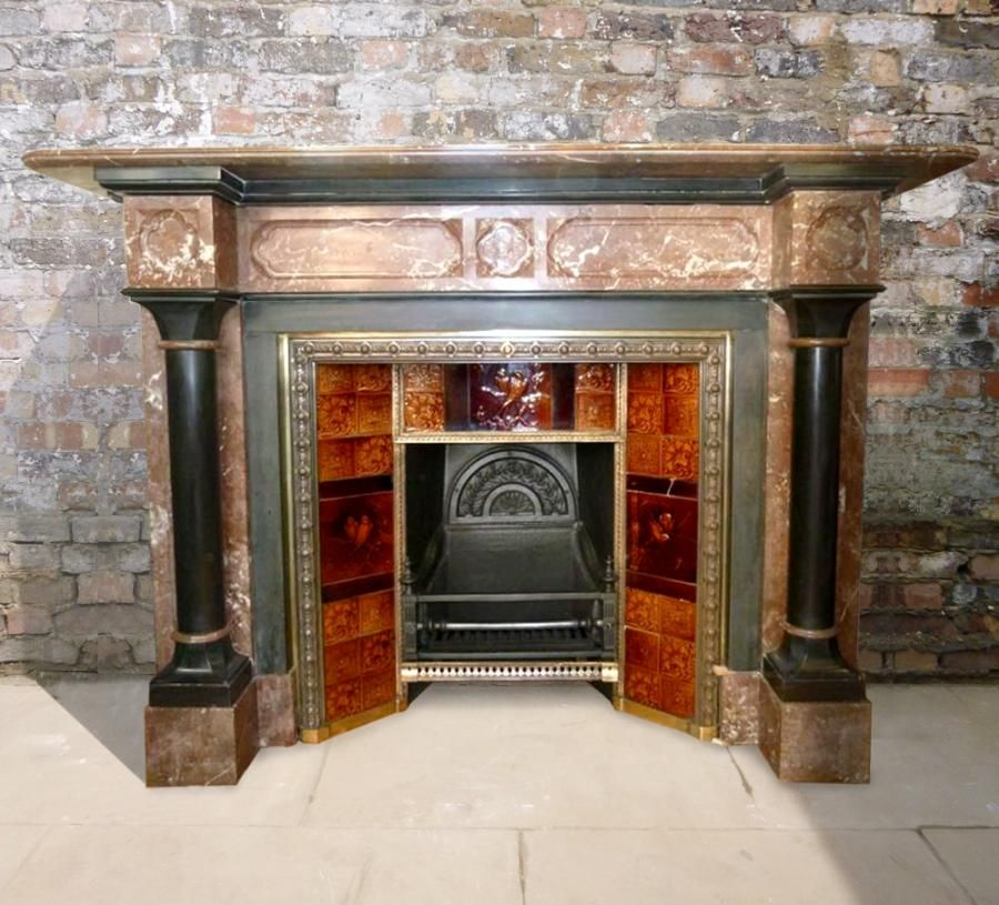 Antique Victorian Rouge Royal Marble Grand Fireplace Fireplace Victorian Fireplace Marble Fireplaces