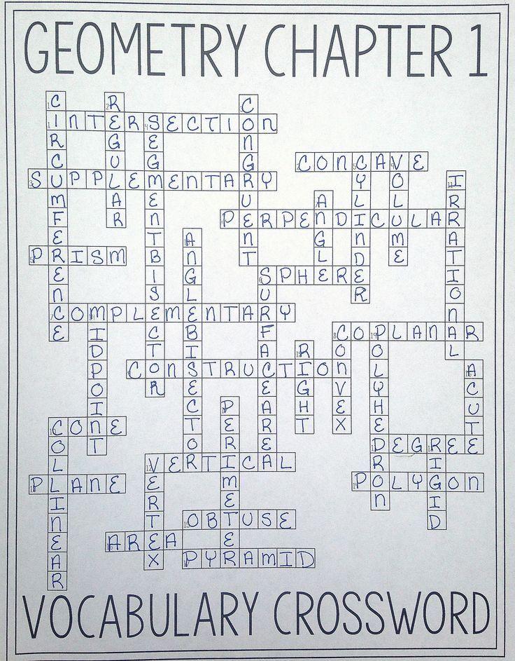 Geometry Chapter 1 Vocabulary Crossword Tools Of Geometry
