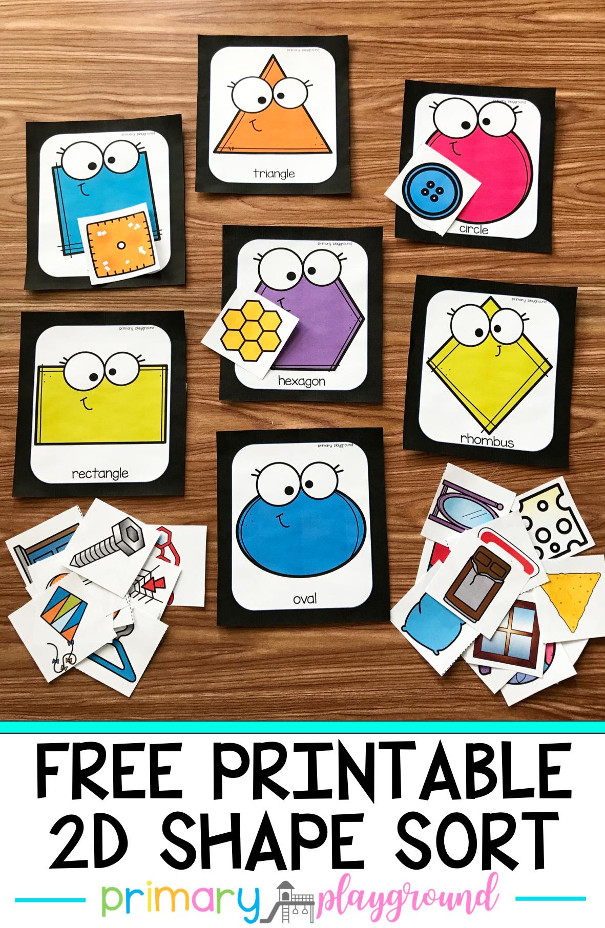 Free Printable 2d Shape Sort In