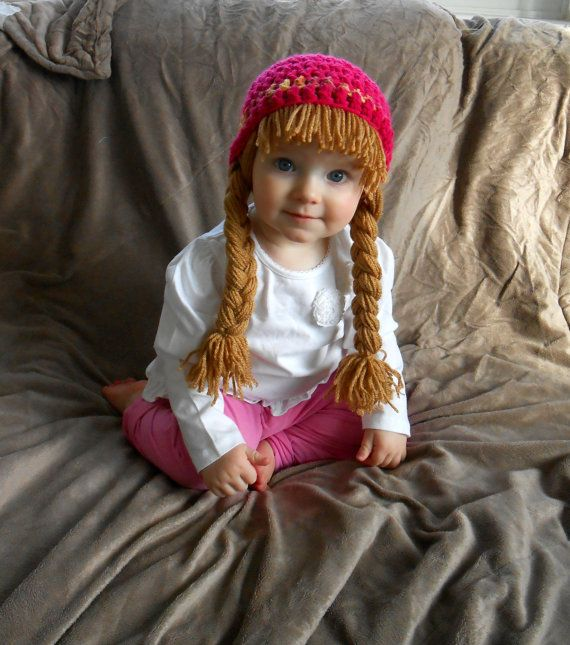 Baby Hat Cabbage Patch Hat Pigtail WIg Costume Photo Props Halloween ... 1b3a02bbdff