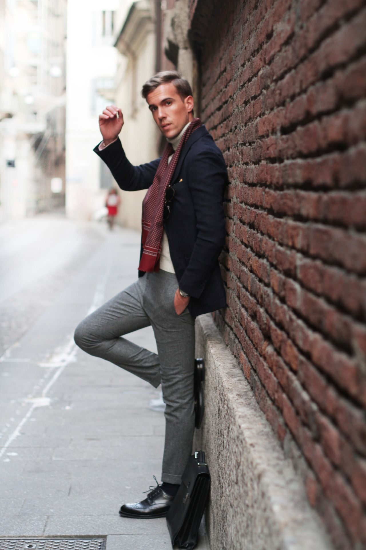 Silk Scarf + Turtleneck for Men Mens fashion business