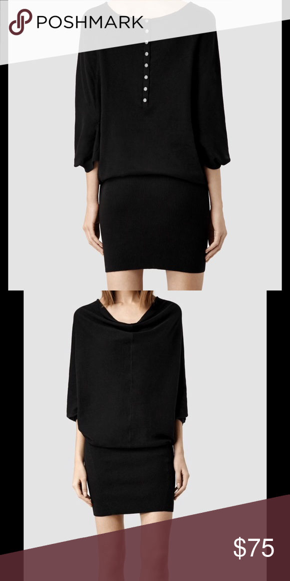 All Saints inc Elgar jersey knit sweater dress 026 Slim fitting skirt  section with central push studs down the back. 100% cotton. All Saints  Dresses Midi b84ac1e38