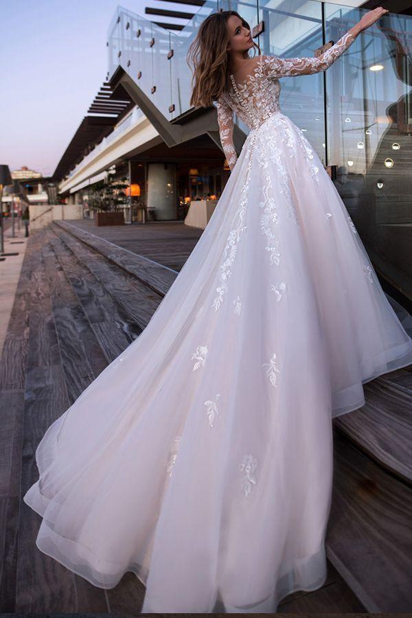 Romantischer Tüll Jewel Ausschnitt A-Linie Brautkleider mit ... - Hochzeitskleid #spitzeapplique