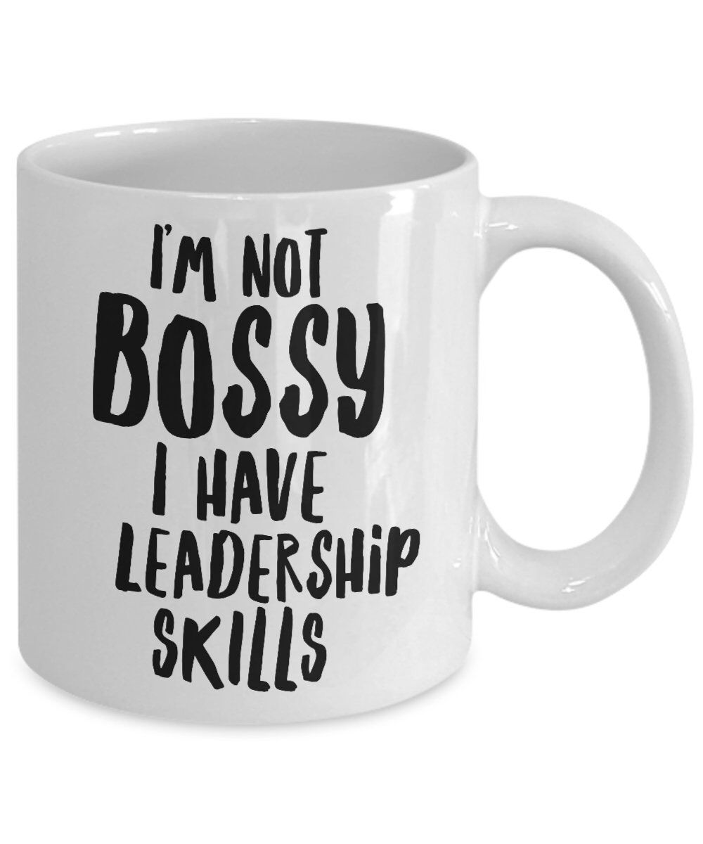 Funny Merry Christmas Lady Quote Coffee Ceramic Mug Gift for Boss Motivation Best Him im not bossy i just know what you should be doing Tea Cup Idea Dad Boss Day Fiend Special