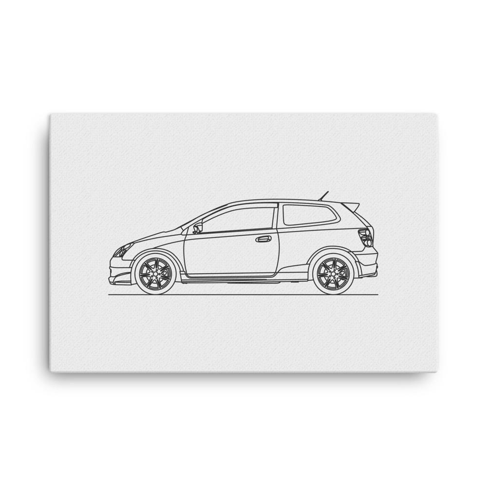 Civic Type R Ep3 Minimal Line Art Canvas Line Art Canvas Art Art