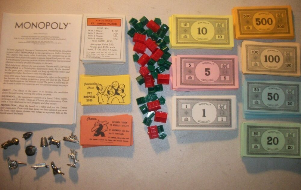Monopoly replacement parts money movers tokens deed cards