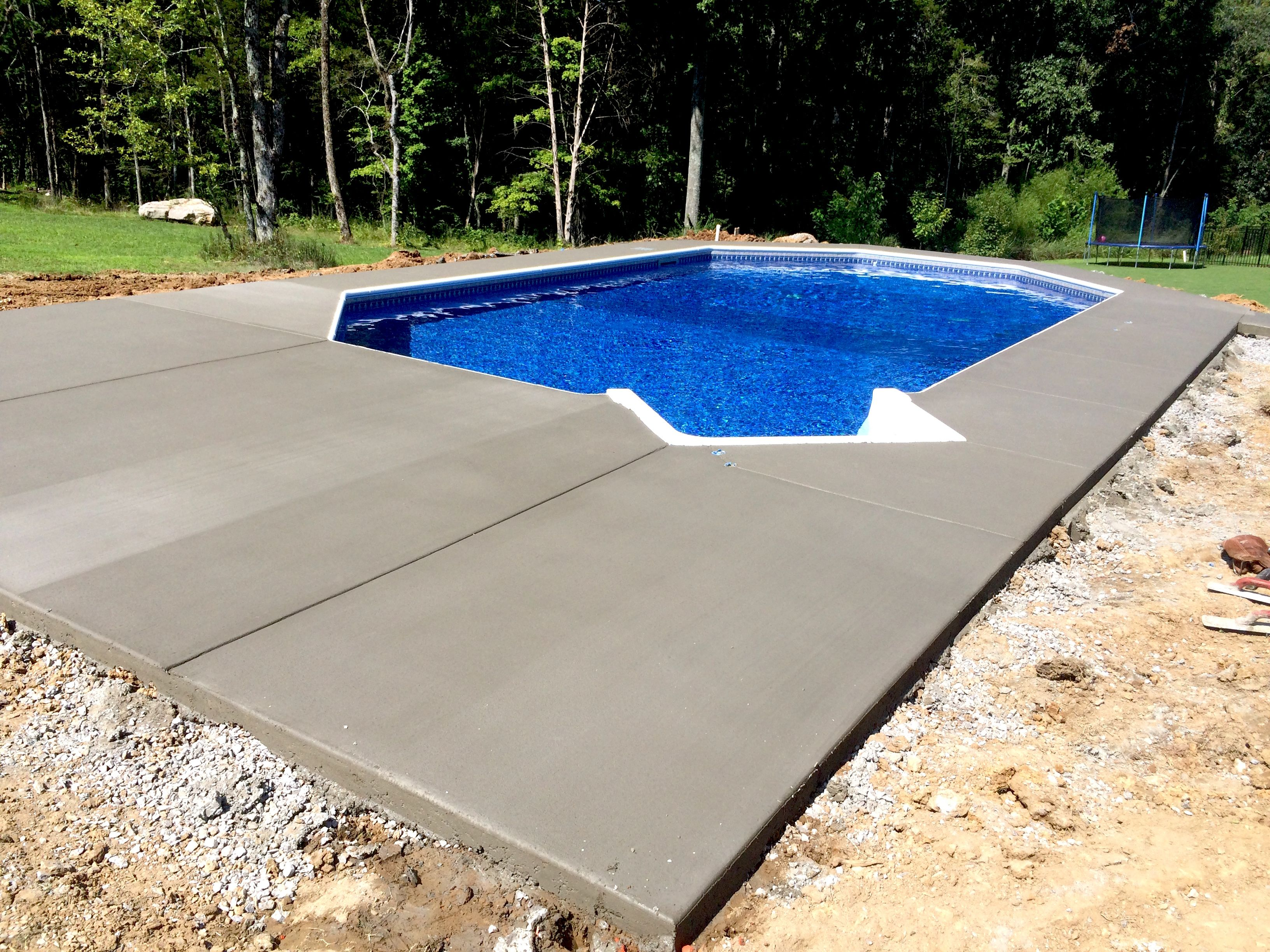Pool And Spa Depot 17 X 31 Steel Wall Grecian Pool Blue Hampton Liner Pattern Aluminum Coping Broom Finished Concrete Decking Spa Pool Pool Steel Wall