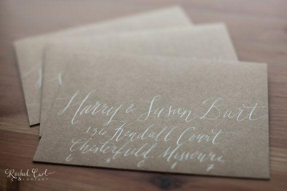 Wedding Or Save The Date Envelope Calligraphy Hand Addressing Scripted Font White Ink Kraft Envelopes