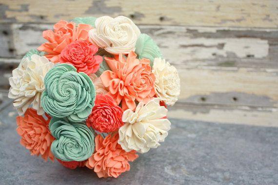 e38fdabbac6aa Sola flower bouquet, brides wedding bouquet, coral and mint, aqua ...