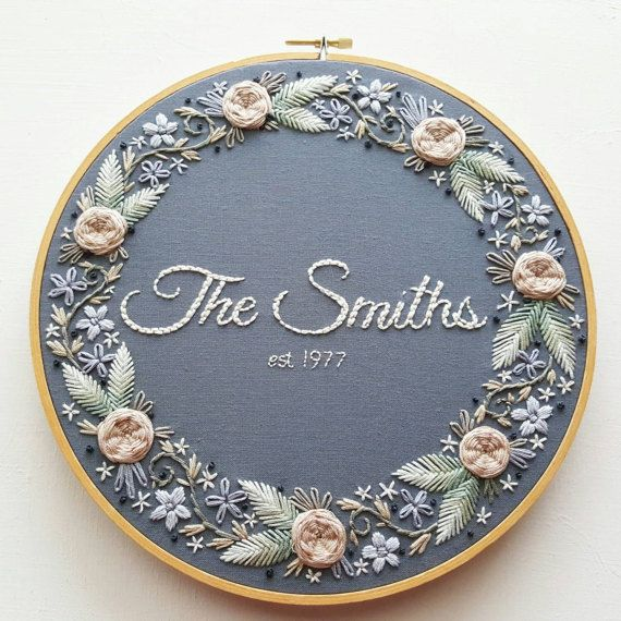 Custom Hand Embroidered Wedding Anniversary Hoop Art Gift Personalized Flowers Bouquet Artwork