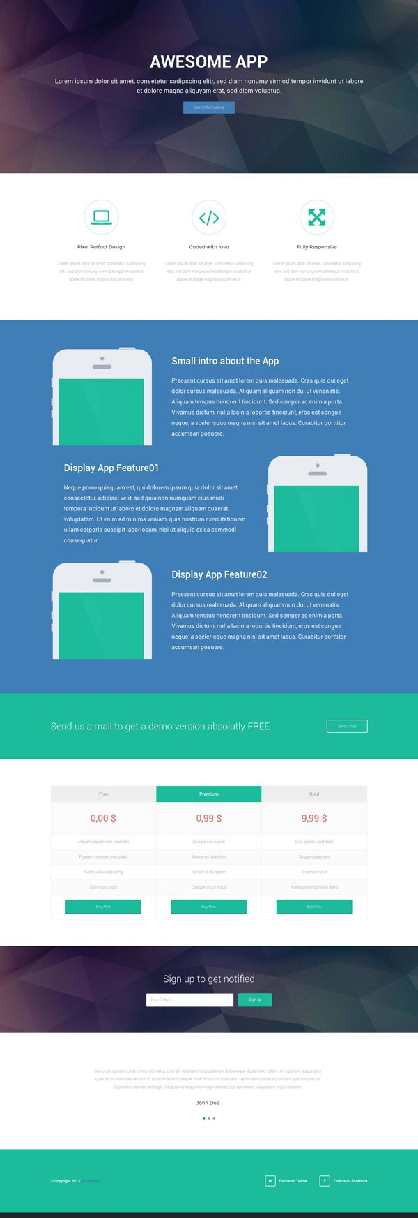 Responsive Landing Page HTML Template Pricing Table Design - Landing page html template