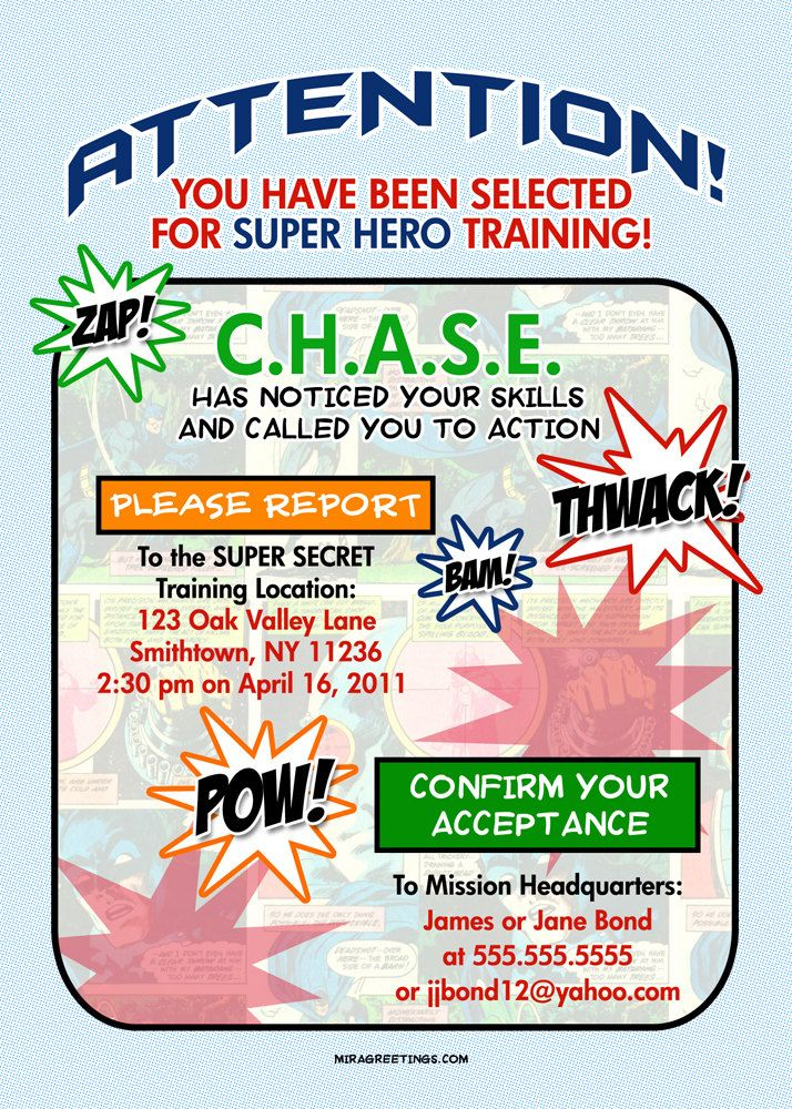 Superhero Birthday | Printable Superhero Birthday Party Invitation ...