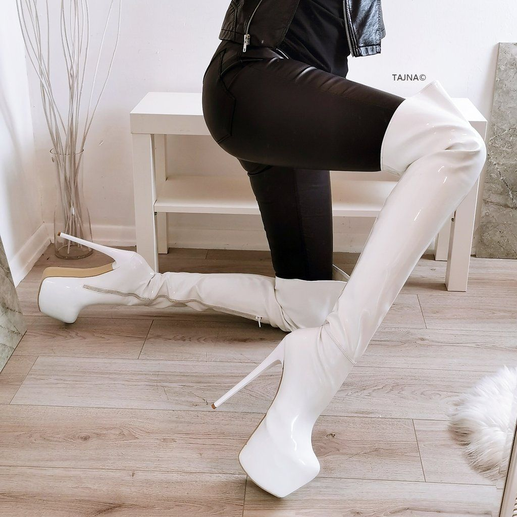 White Patent Strech Knee High Boots | Kniehohe stiefel