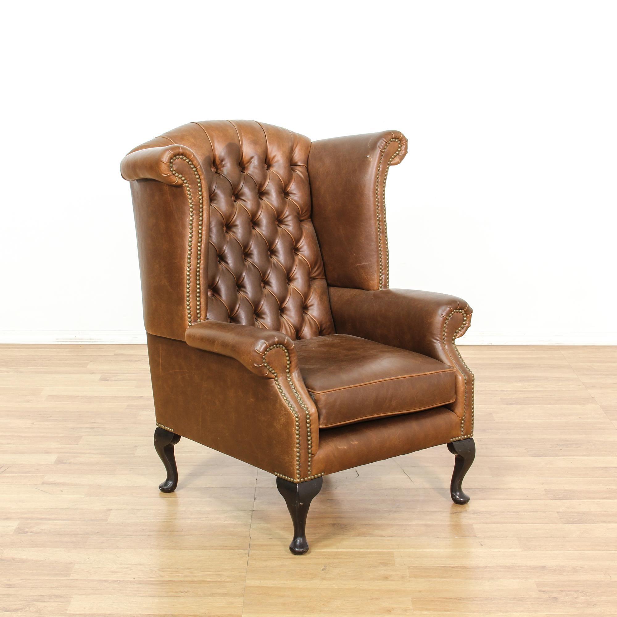 Tufted Brown Leather Studded Wingback Armchair | Loveseat Vintage Furniture  San Diego U0026 Los Angeles