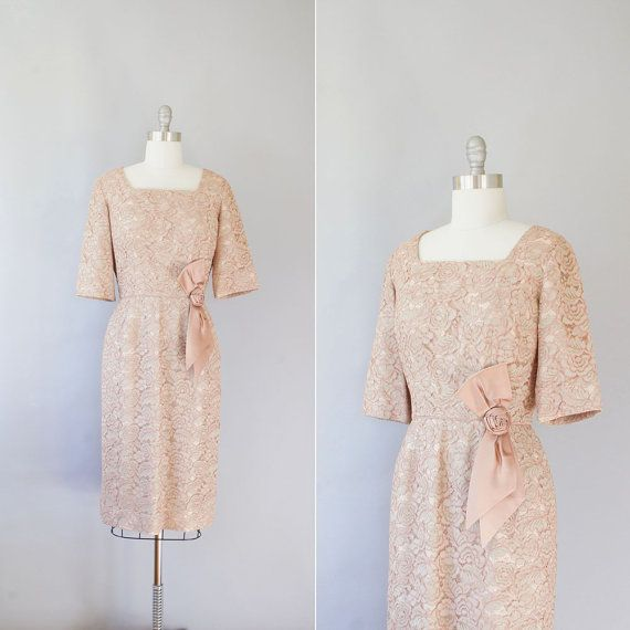 Late 1950s Early 1960s Dress / Vintage 50s 60s Lace By