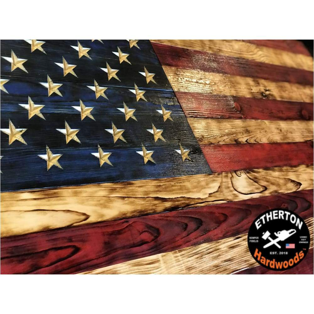 Charred Signature Series Natural Grain Carved Wooden American