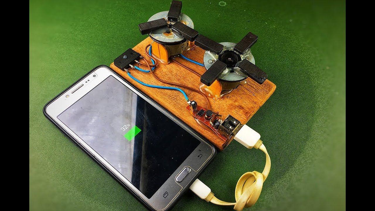 Free energy mobile charging by self running motors
