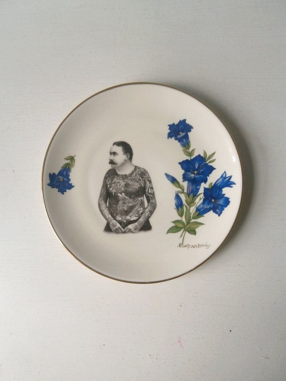 Vintage Victorian Moustache Tattooed Man Plate Altered Art. $22.00, via Etsy. These plates are so lovely, I keep getting distracted and just gazing at them...