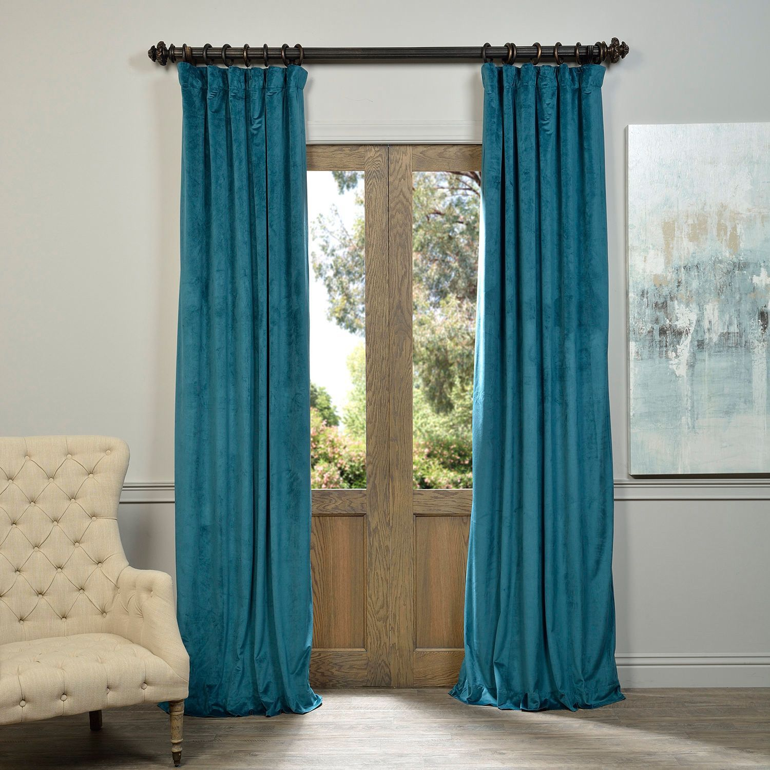 Exclusive Fabrics Signature Velvet 120 Inch Blackout Curtain Panel Teal 120L