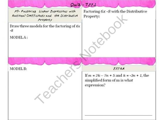 7th Grade Math Equations and Expressions Common Core EE1