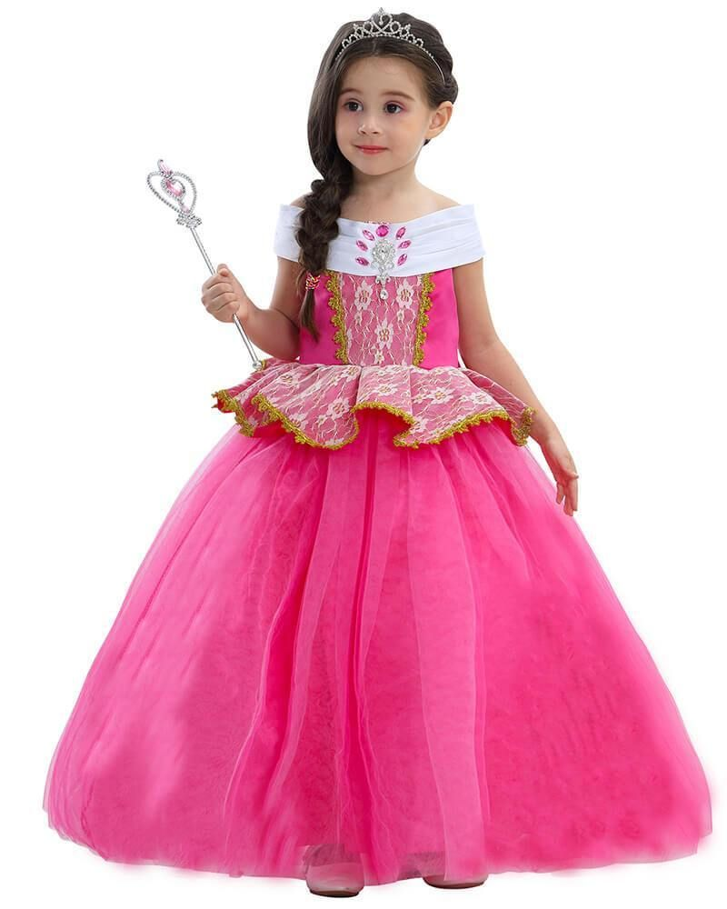 ad4aa707f2bb1 Girls Aurora Princess Ball Gown kid Stage Play Dress Costume Pink ...