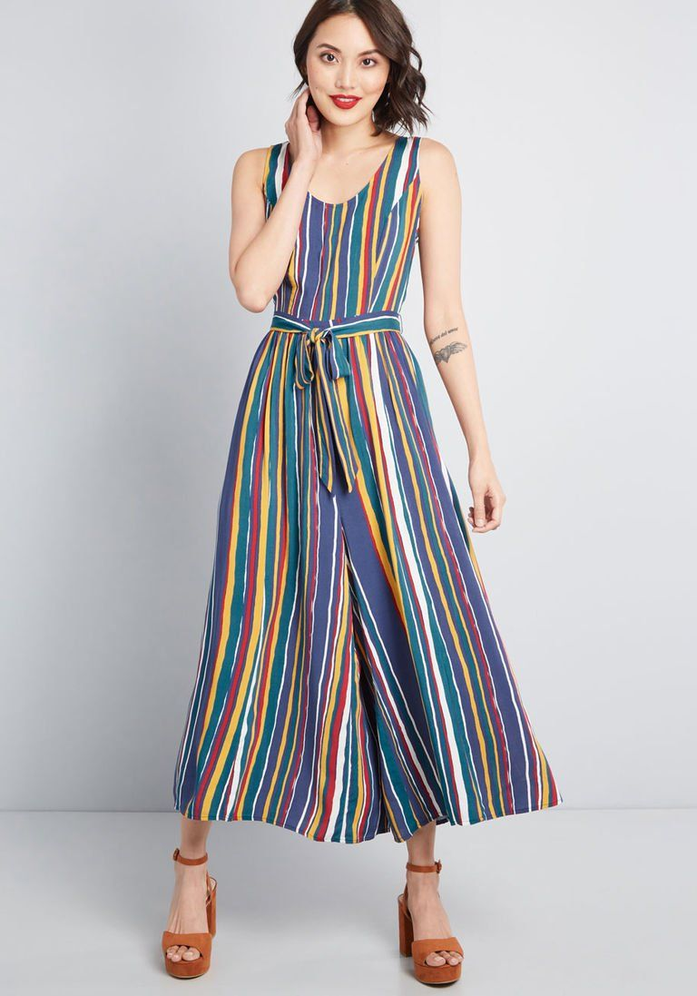 8d3e17951eff Unbridled Enthusiasm Wide-Leg Jumpsuit in L - Sleeveless Crop by ModCloth