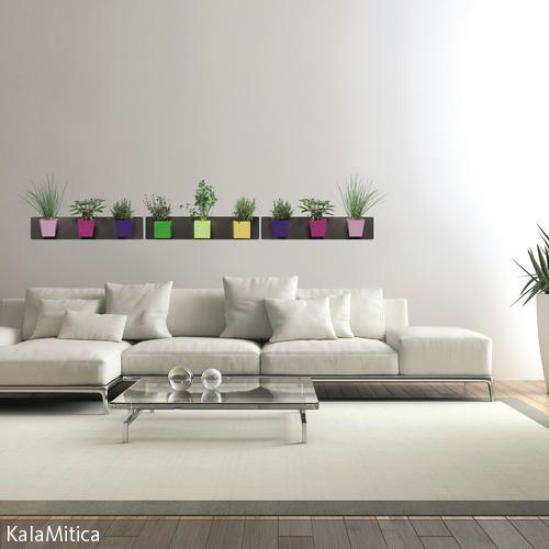 DIY-Idee Wanddeko aus magnetischen Blumentöpfen - wohnideen wohnzimmer diy