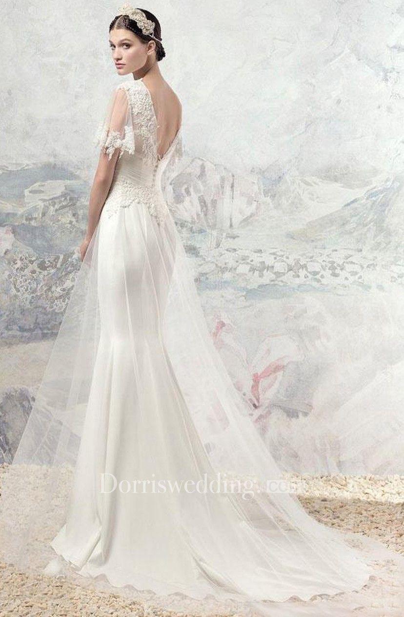 e9205ce2da8 Boho Half Sleeve V-Neck Backless Lace and Tulle Wedding Dress - Dorris  Wedding