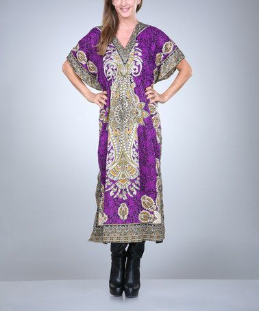 This Purple & Yellow Arabesque V-Neck Caftan - Women by Ananda's Collection is perfect! #zulilyfinds