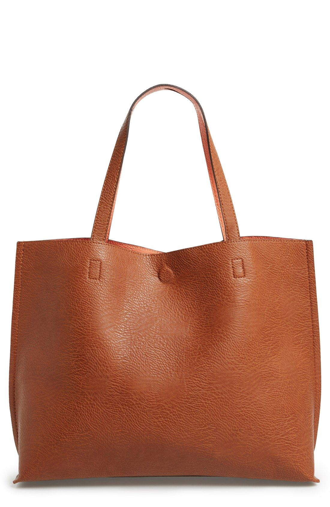 eedf27ceb5 Free shipping and returns on Street Level Reversible Faux Leather Tote &  Wristlet at Nordstrom.com. Colored faux leather flips inside-out for a  reversible ...