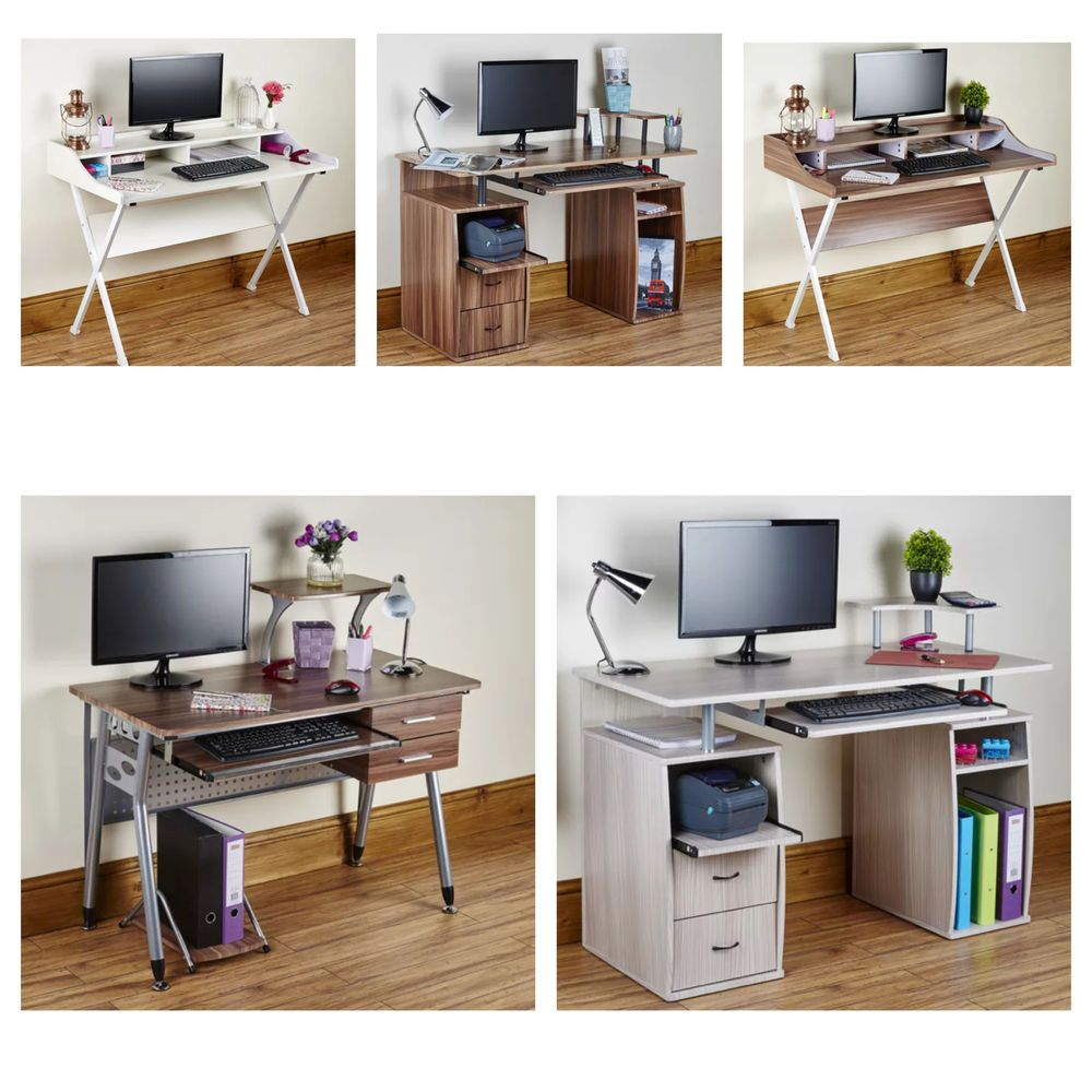 Computer Desk Pc Table Folding Home Office Furniture L Shape Black Fold Away In Business