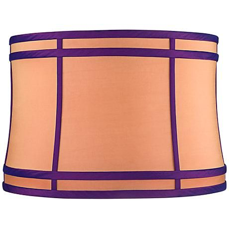 Orange purple colorblock lamp shade 15x16x11 spider lampshade softback drum lamp shade in a hot pink cotton poly blend fabric style at lamps plus aloadofball Gallery